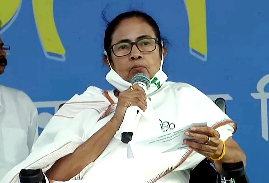 West Bengal, March 21 (ANI): West Bengal Chief Minister Mamata Banerjee during an election rally ahead of the State Assembly elections, in East Midnapore on Sunday.