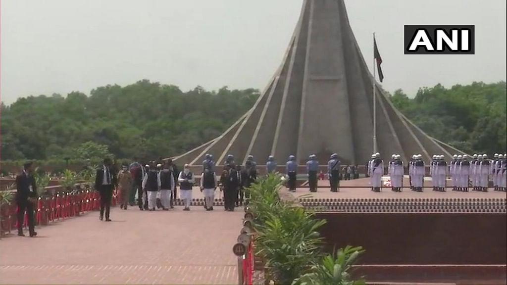 Prime Minister Narendra Modi visits National Martyrs' Memorial, Savar in Dhaka.
