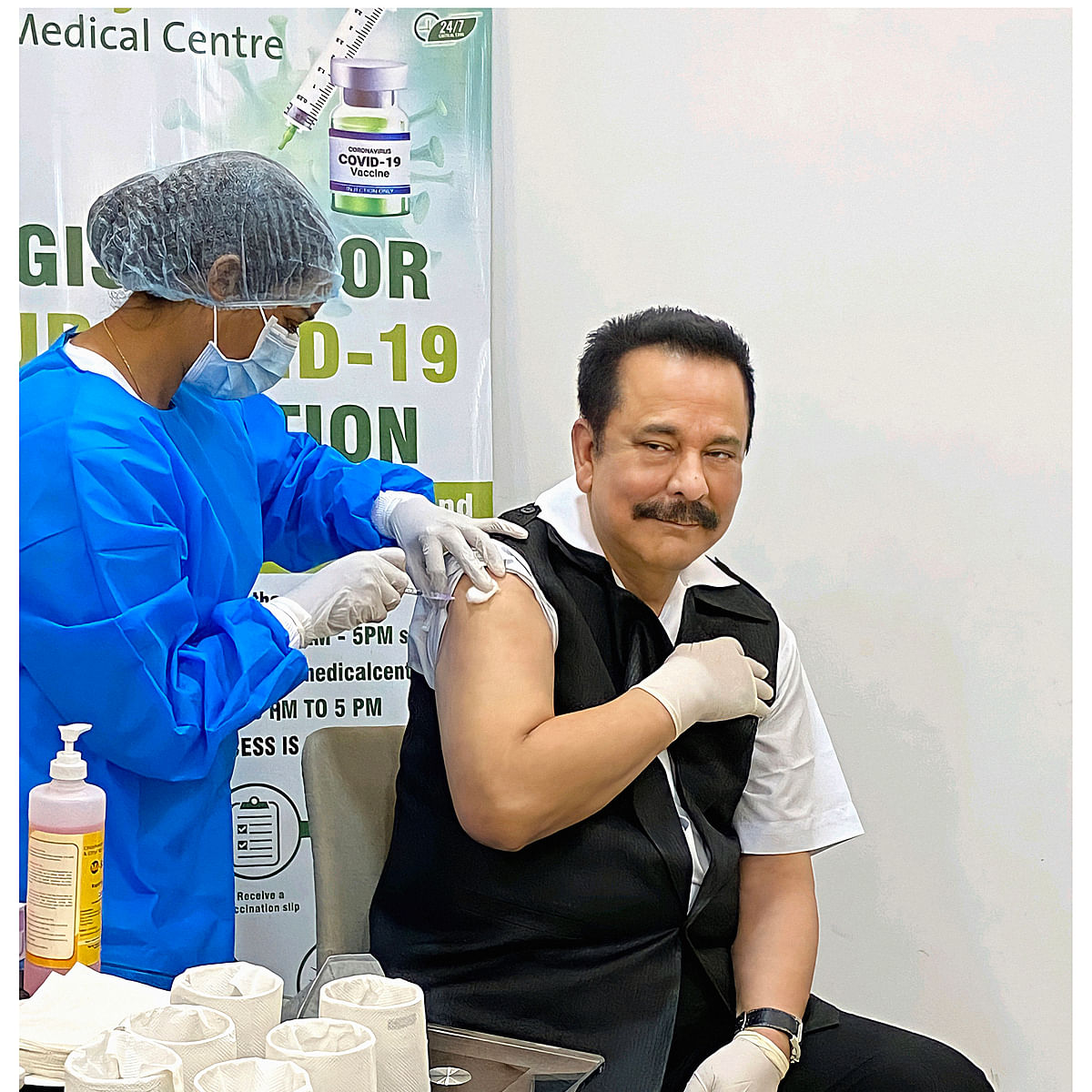 Sahara India's Subrata Roy takes first dose of COVID-19 vaccine in Lucknow