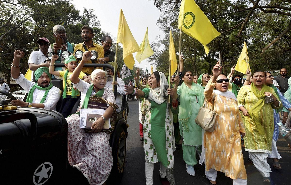 Kolkata: Activist Medha Patkar along with members of Samyukt Kisan Morcha during a protest rally against the farm laws, in Kolkata, Friday, March 12, 2021.