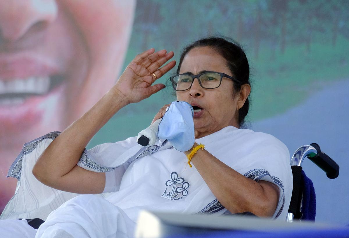 West Bengal, Mar 22 (ANI): West Bengal CM Mamata Banerjee addresses an election rally, at Indas in Bakura on Monday.