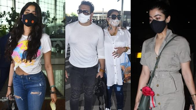 In Pics: Janhvi Kapoor, Govinda, Rashmika Mandanna and others spotted at Mumbai airport