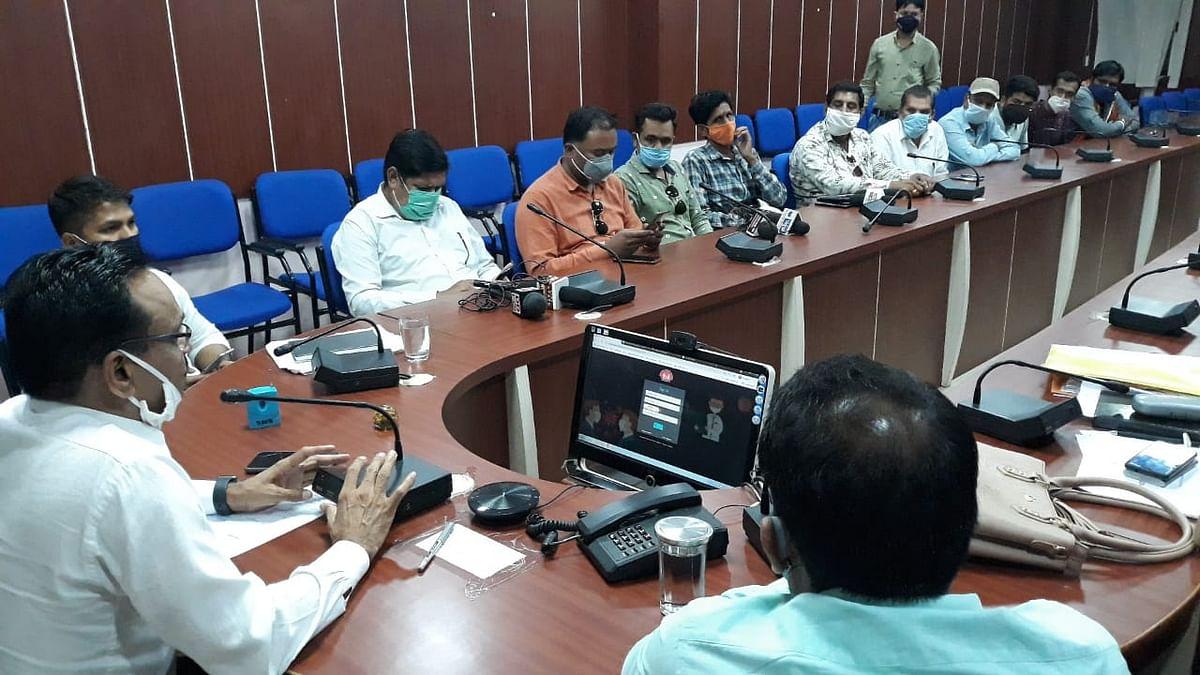 Barwani district collector Shivraj Singh Verma talking to mediapersons on Monday