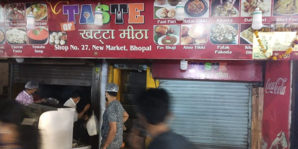 Bhopal administration officials run a checking drive on an eatery in New Market on Wednesday.
