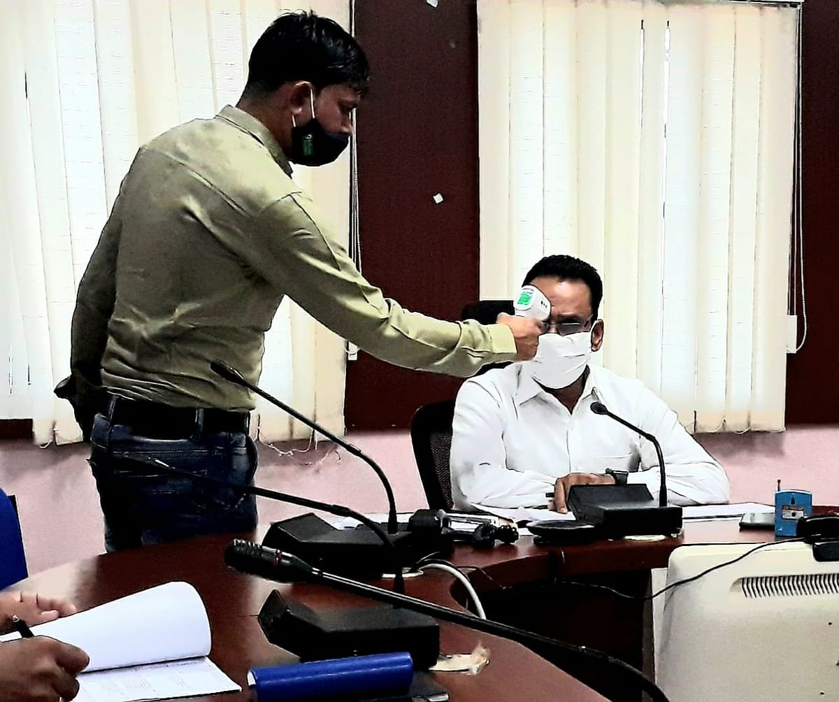 Thermal screening at collectorate in Barwani on Monday