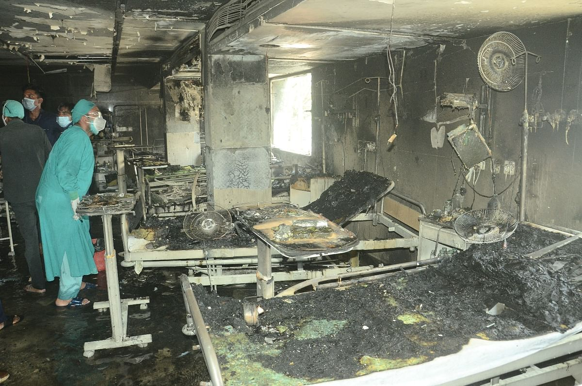 Gutted ward: Remains of beds, medical paraphernalia