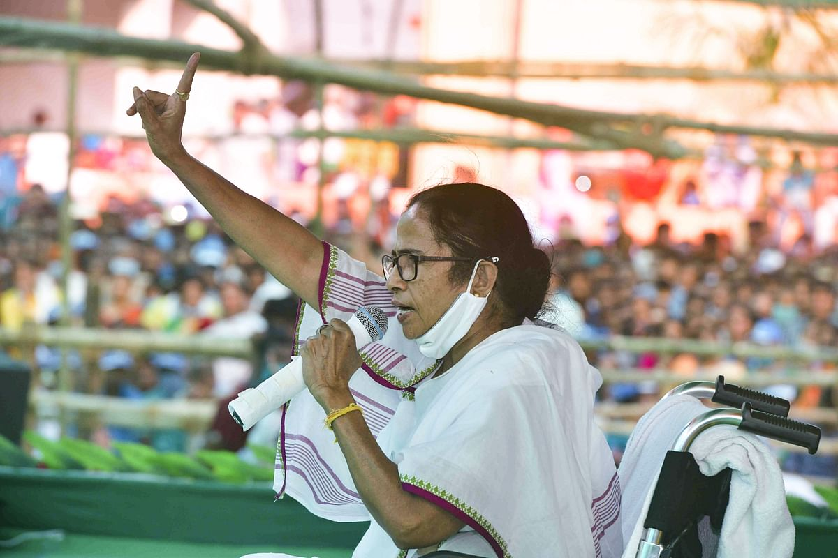 South 24 Parganas: West Bengal CM and TMC supremo Mamata Banerjee addresses an election campaign rally for Assembly polls, at Sonarpur in South 24 Parganas, Sunday, April 4, 2021