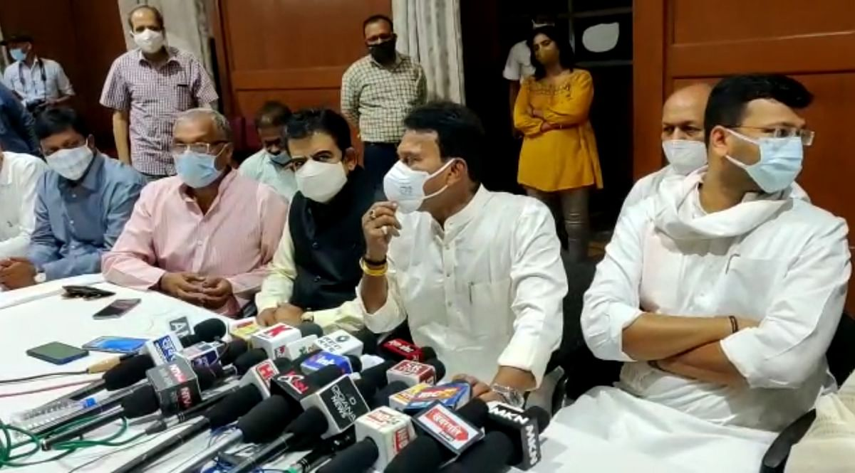 Water resource minister Tulsiram Silawat announcing the decision regarding suspension of hike in municipal taxes at a press conference in Indore on Thursday.