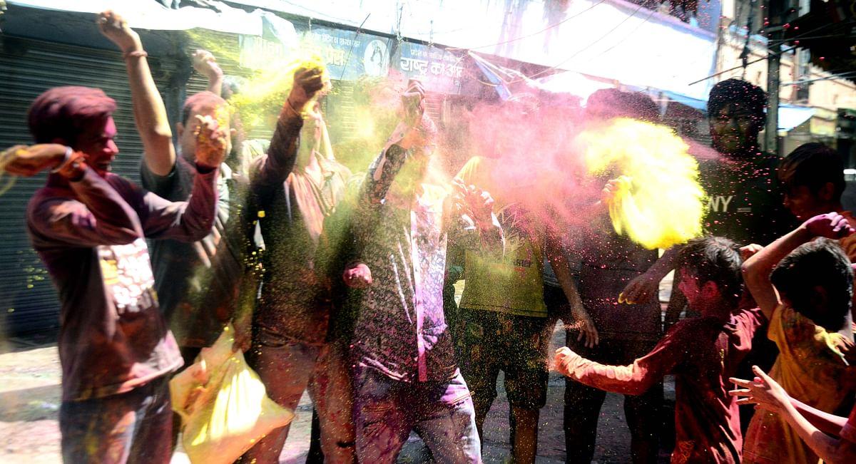 Rangpanchami celebrations in New Bhopal on Friday