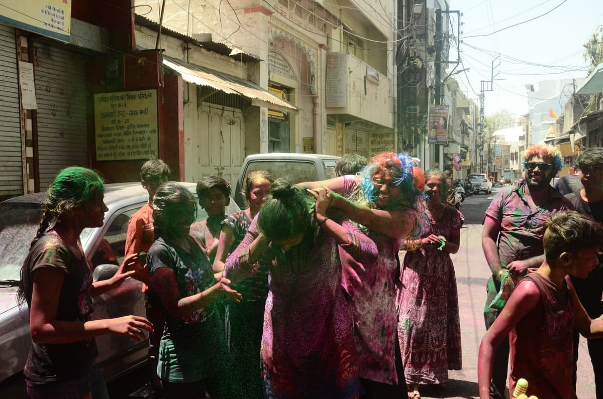 Families celebrated Rangpanchami at certain places in Ujjain on Friday