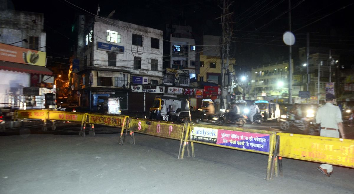 Barricaded road in old city Bhopal