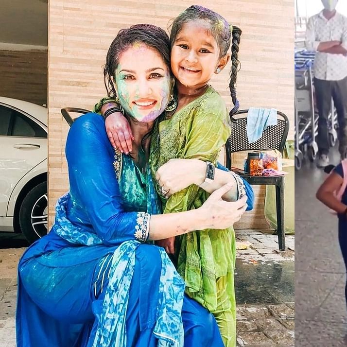 Watch: Netizens are in awe of Sunny Leone's daughter Nisha being protective of baby brother at the airport