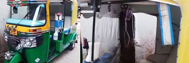 Bhopal: Moved by pathetic scenes on social media, Javed converts his auto into an 'ambulance' with oxygen