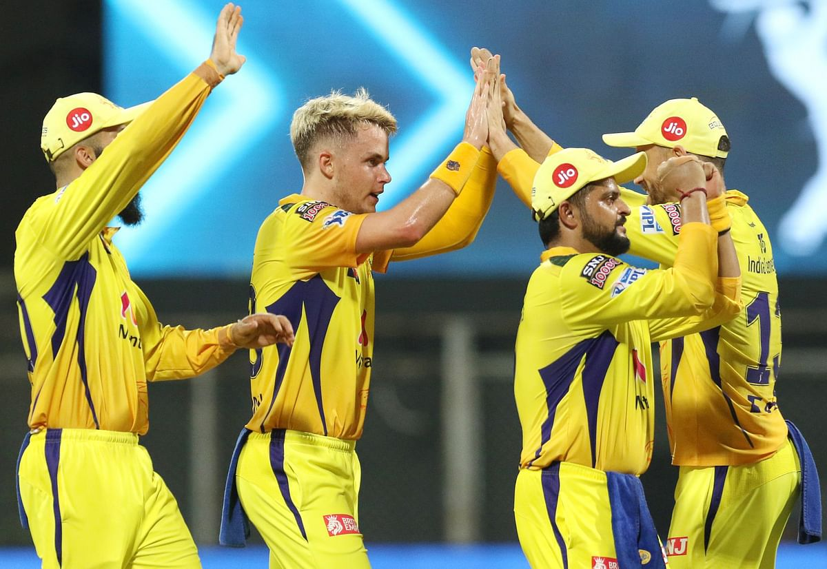 Maharashtra, Apr 19 (ANI): Sam Curran of Chennai Super Kings celebrates the wicket of Sanju Samson captain of Rajasthan Royals during the match between the Chennai Super Kings and the Rajasthan Royals at the Wankhede Stadium in Mumbai on Monday.