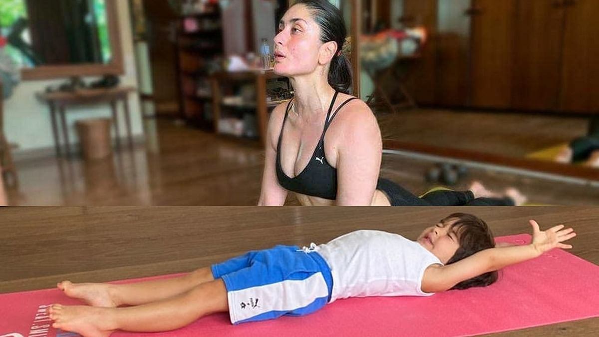 Kareena wants you to guess if Taimur is stretching after a nap or doing yoga
