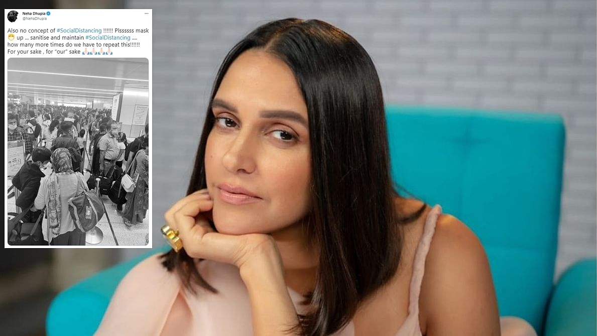 Neha Dhupia shares 'no concept of social distancing' at Delhi airport even as India hits record daily high of COVID-19 cases