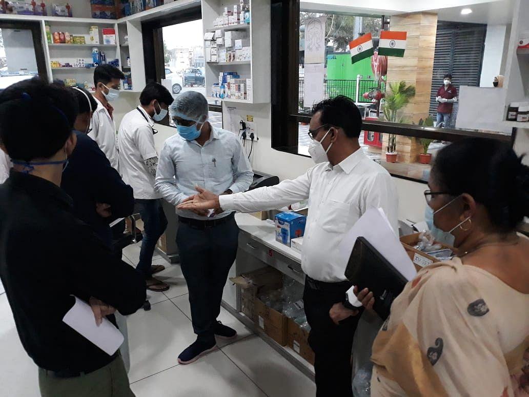 Barwani collector  Shivraj Singh Verma at a hospital on Sunday