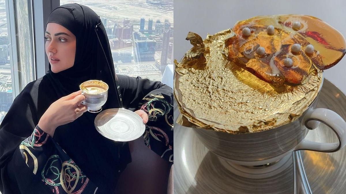 Sana Khan enjoys 24K gold plated coffee worth over Rs 3,000 at Burj Khalifa with husband Mufti Anas Saiyad