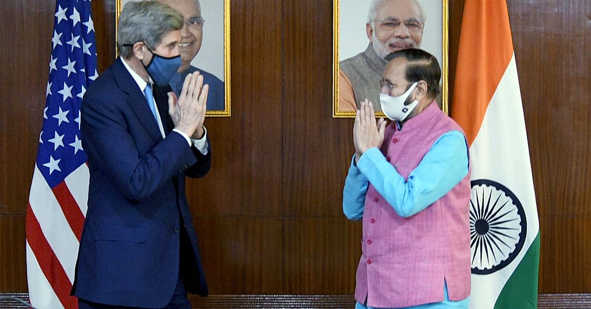 US Special Presidential Envoy for Climate, John Kerry calls on Union Minister Prakash Javadekar, in New Delhi on Tuesday.