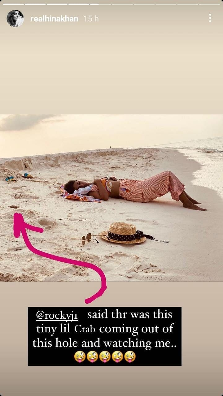Here's what happened when a crab approached sleeping beauty Hina Khan in the Maldives