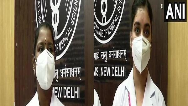 AIIMS Nurses Nisha Sharma (R), P Nivedita (L)