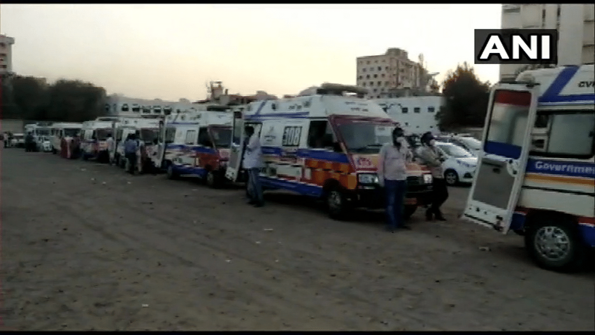 Gujarat: Long queue of ambulances seen outside Civil Hospital in Rajkot