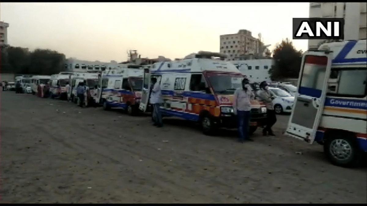 Gujarat: Long queue of ambulances seen outside Civil Hospital in Rajkot