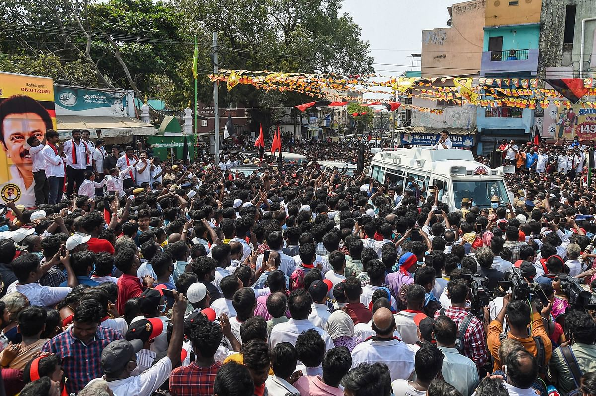 Chennai: Dravida Munnetra Kazhagam (DMK) President MK Stalin during a roadshow in support of party Youth Wing leader and candidate from Chepauk-Thiruvallikeni constituency Udhayanidhi Stalin, ahead of Tamil Nadu Assembly Polls, in Chennai, Sunday, April 4, 2021
