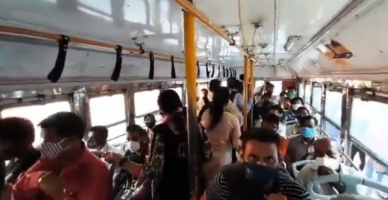 COVID-19 in Mumbai: BEST conductor, driver ask standing passengers to deboard bus owing to revised guidelines; Watch video