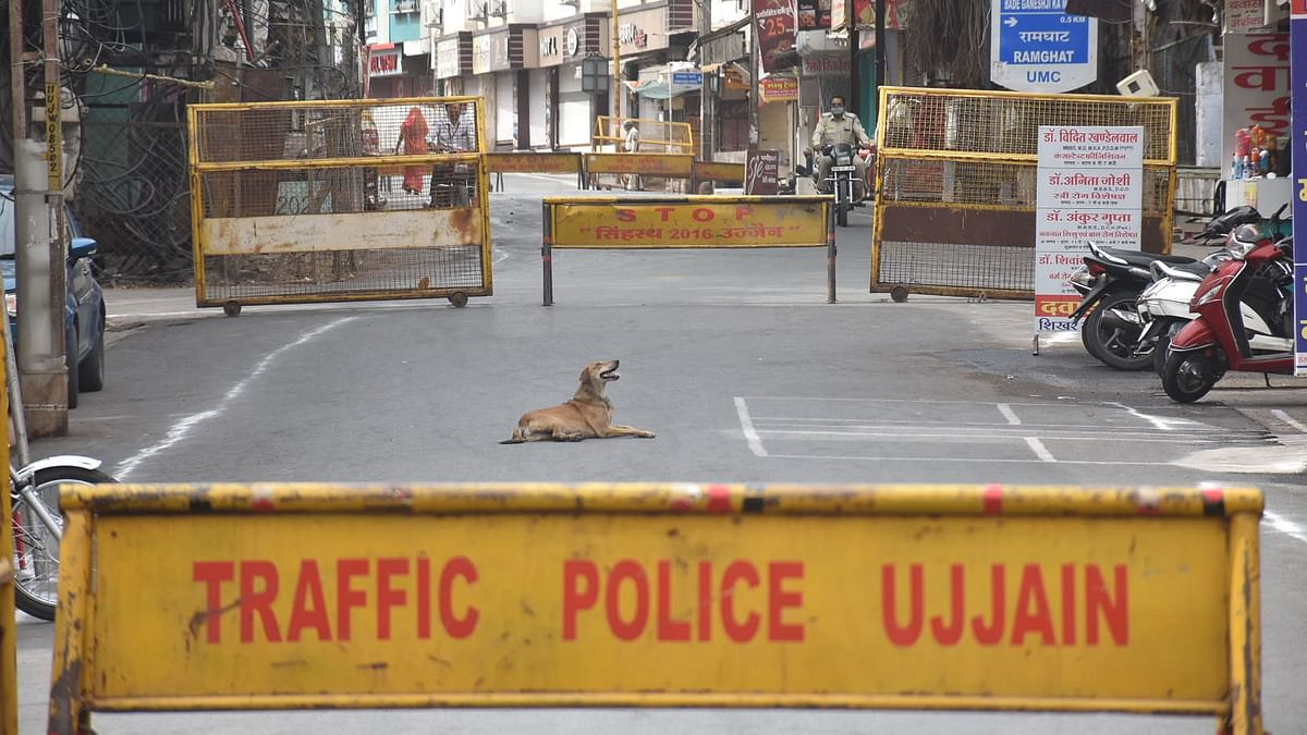 Barricades at Ram Ghat Road On day1 of Janata Curfew in Ujjain on Wednesday