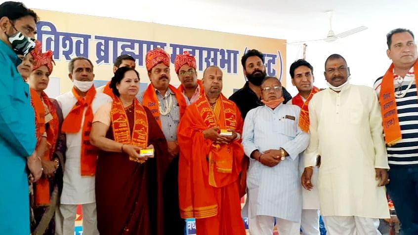 Representatives of Brahmin community from across the country at the Rashtriya Brahmin Adhiveshan at Jaipur