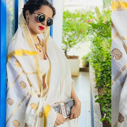 FPJ Fashion Police: Kangana Ranaut pairs white saree with Rs 7, 500 money clutch