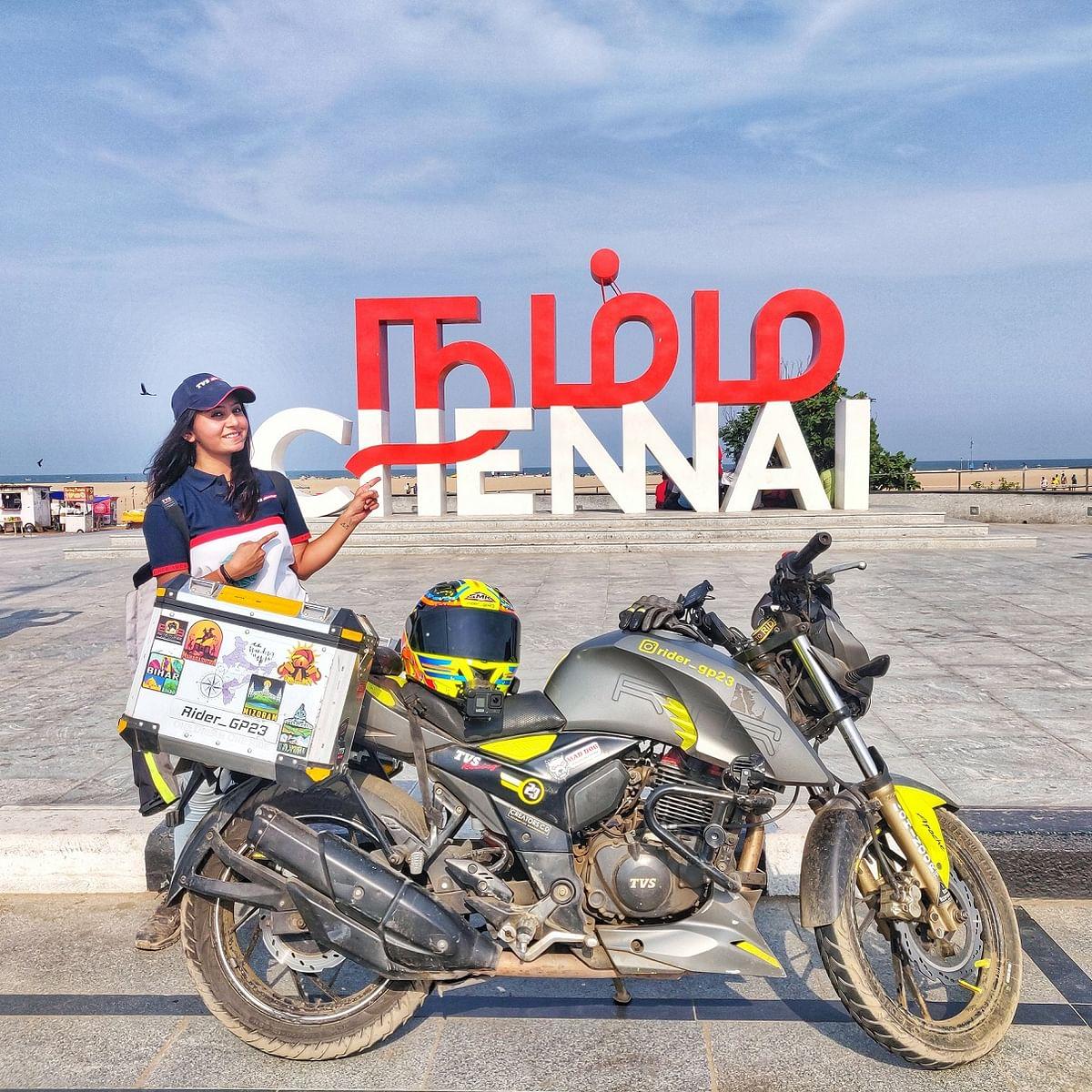 TVS Apache rider Gayatri Patel part of One Dream, One Ride: Indian Odyssey ride reaches Chennai