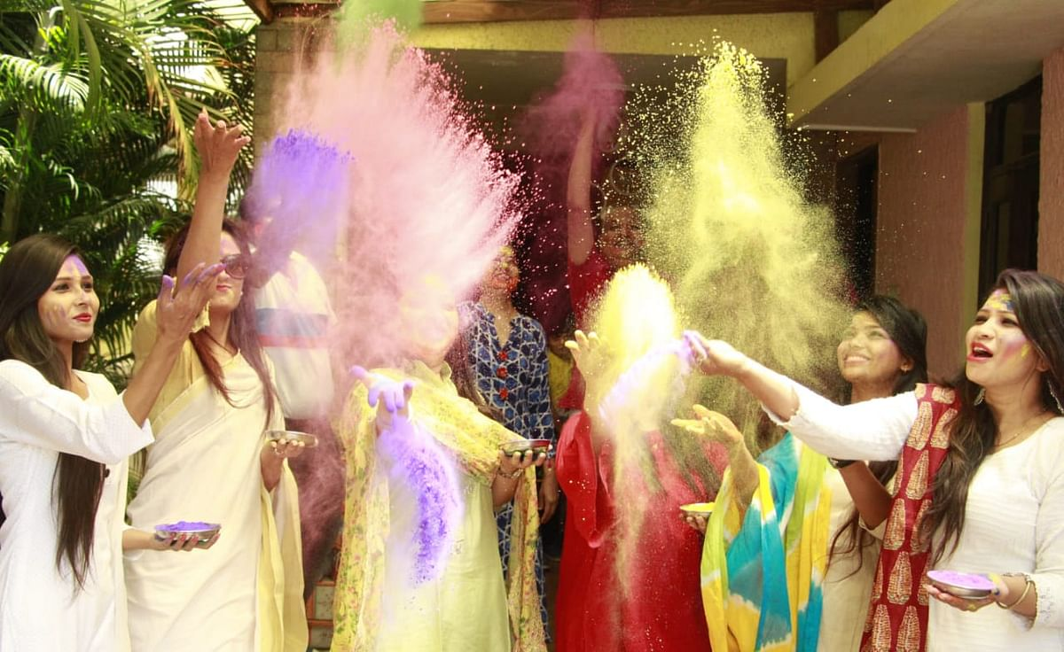 Some families celebrated Rangpanchami in certain areas in Indore on Friday