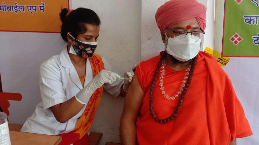 Saint Dr Avadheshpuri gets Corona vaccine, in Ujjain on Wednesday