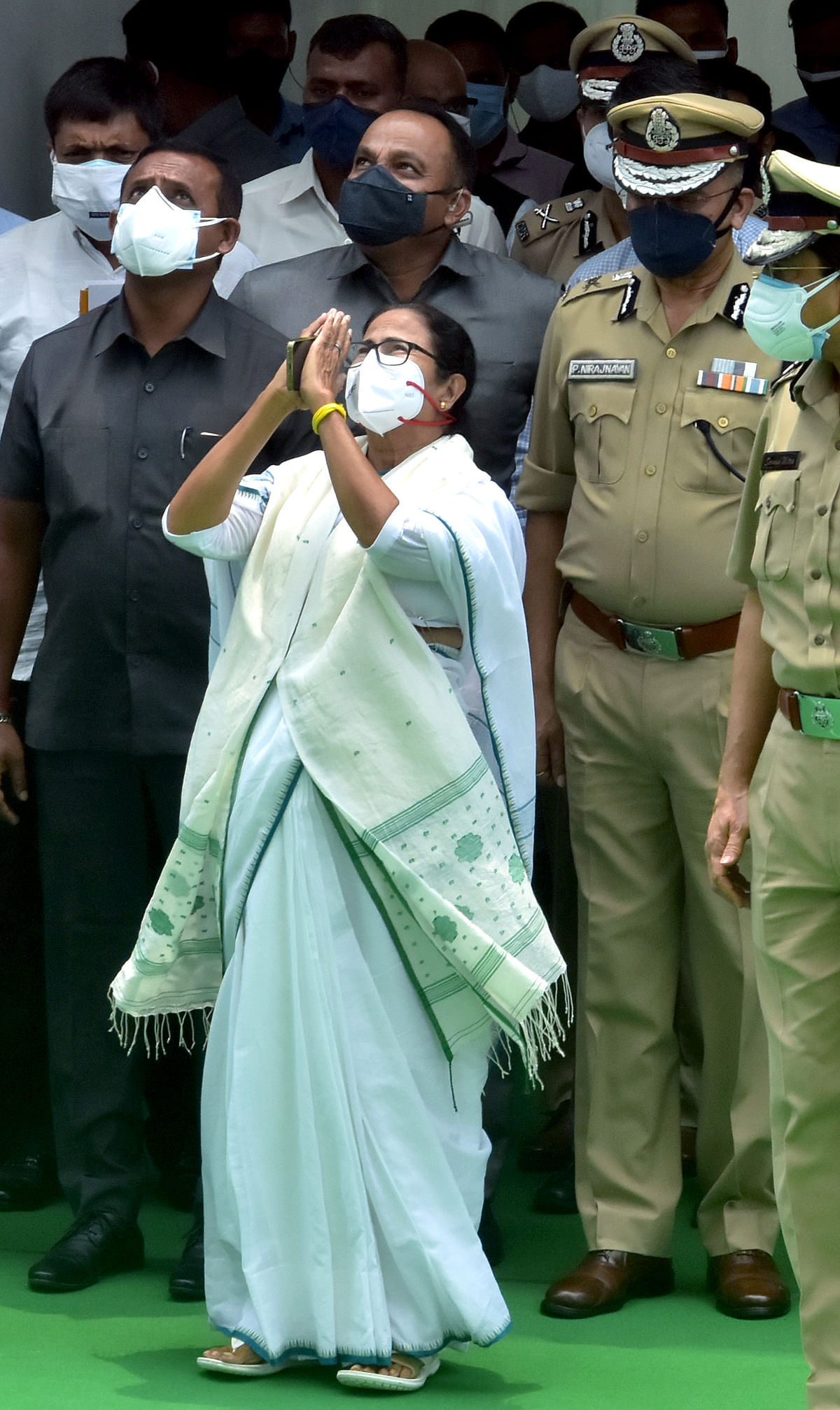 Newly-elected for a third consecutive term Chief Minister of West Bengal Mamata Banerjee after taking the oath, at Raj Bhavan in Kolkata on Wednesday.