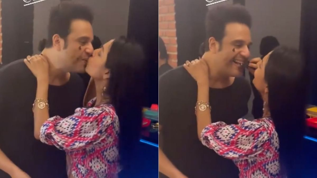 In Pics: Krushna Abhishek locks lips with wife Kashmera Shah as he rings in his birthday with family, friends