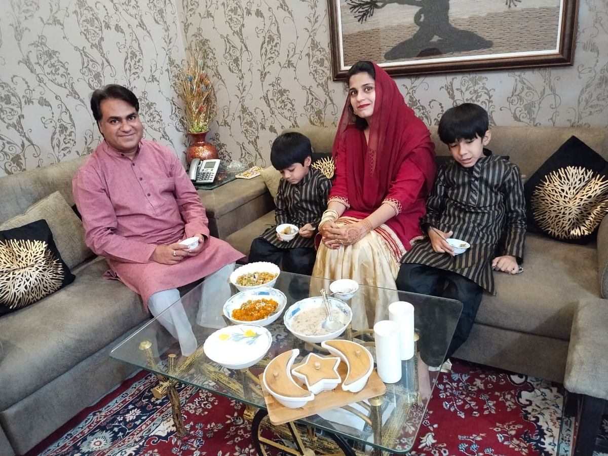 Family celebrates Eid at home in Indore on Friday