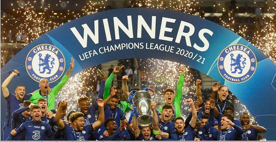 Chelsea team celebrating