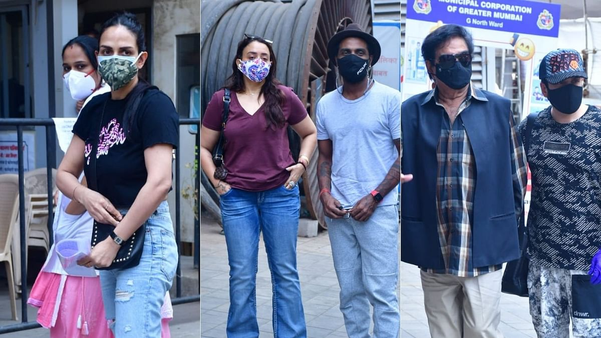 In Pics: Esha Deol, Remo D'souza, and Shatrughan Sinha spotted with family outside vaccination centres in Mumbai