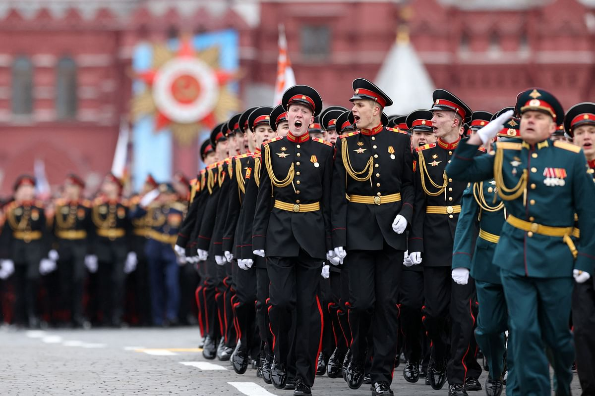 Russian servicemen march along Red Square during the Victory Day military parade in Moscow on May 9, 2021.