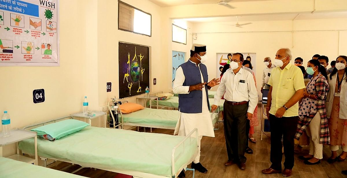 Medical Education Minister Vishwas Sarang visits private hospital in Ashoka Garden to take stock of facilities for covid and post-Covid treatment on Saturday.