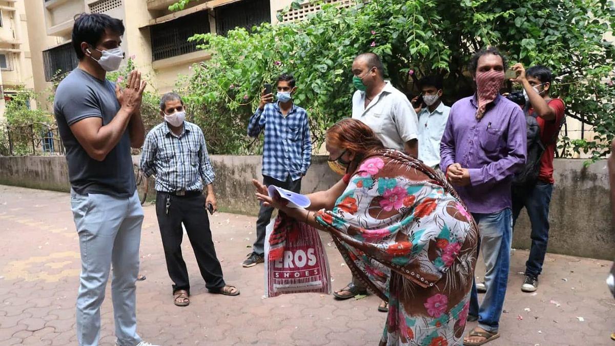 Watch: Sonu Sood meets people seeking help outside his Mumbai residence
