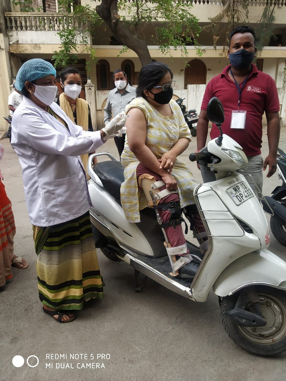 Representative photo: A physically challenged woman being vaccinated at a vaccination centre in Ujjain on Sunday