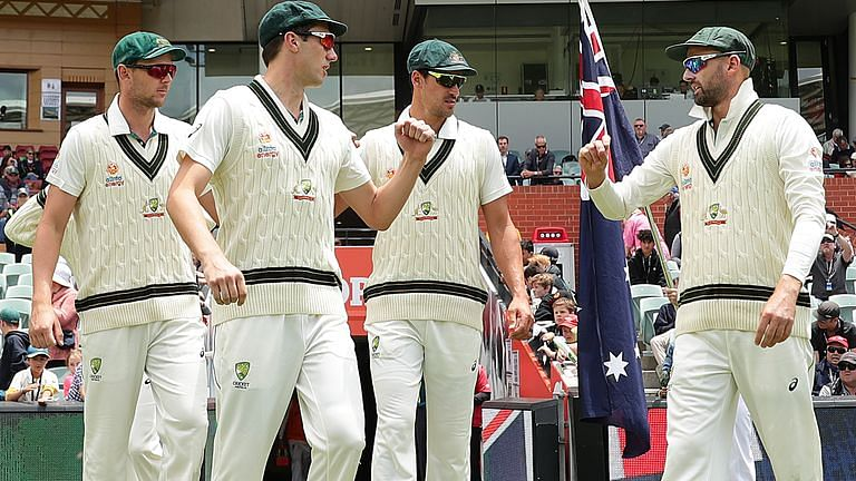 (L-R) Josh Hazlewood, Pat Cummins, Mitchell Starc and Nathan Lyon have once again denied any complicity in the 2018 sandpaper scandal