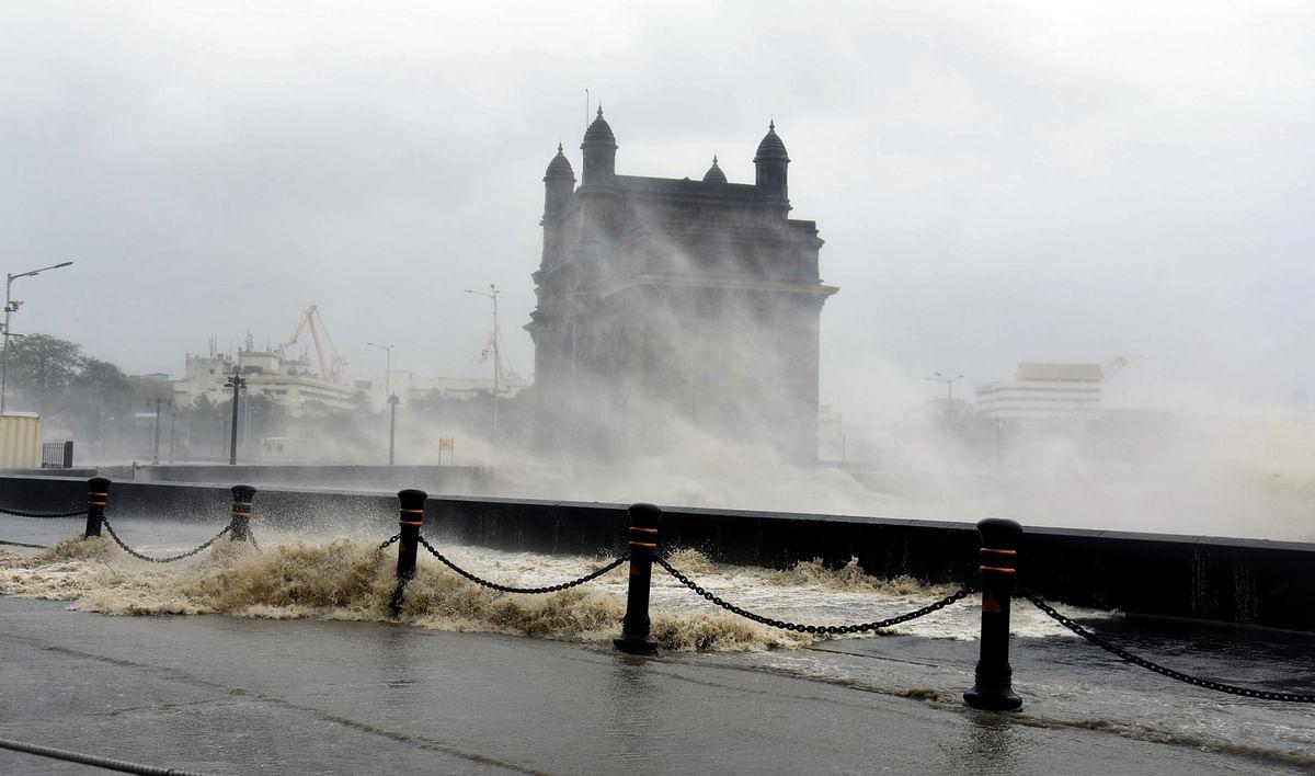 Maharashtra, May 17(ANI): Strong sea waves near the Gateway of India as cyclone Tauktae approaches the coast of Mumbai on Monday.