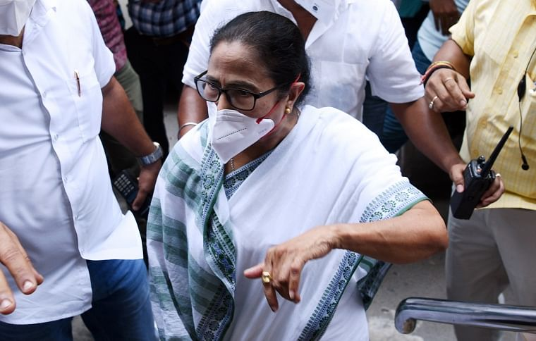 West Bengal Chief Minister Mamata Banerjee comes out of CBI office, in Kolkata on Monday