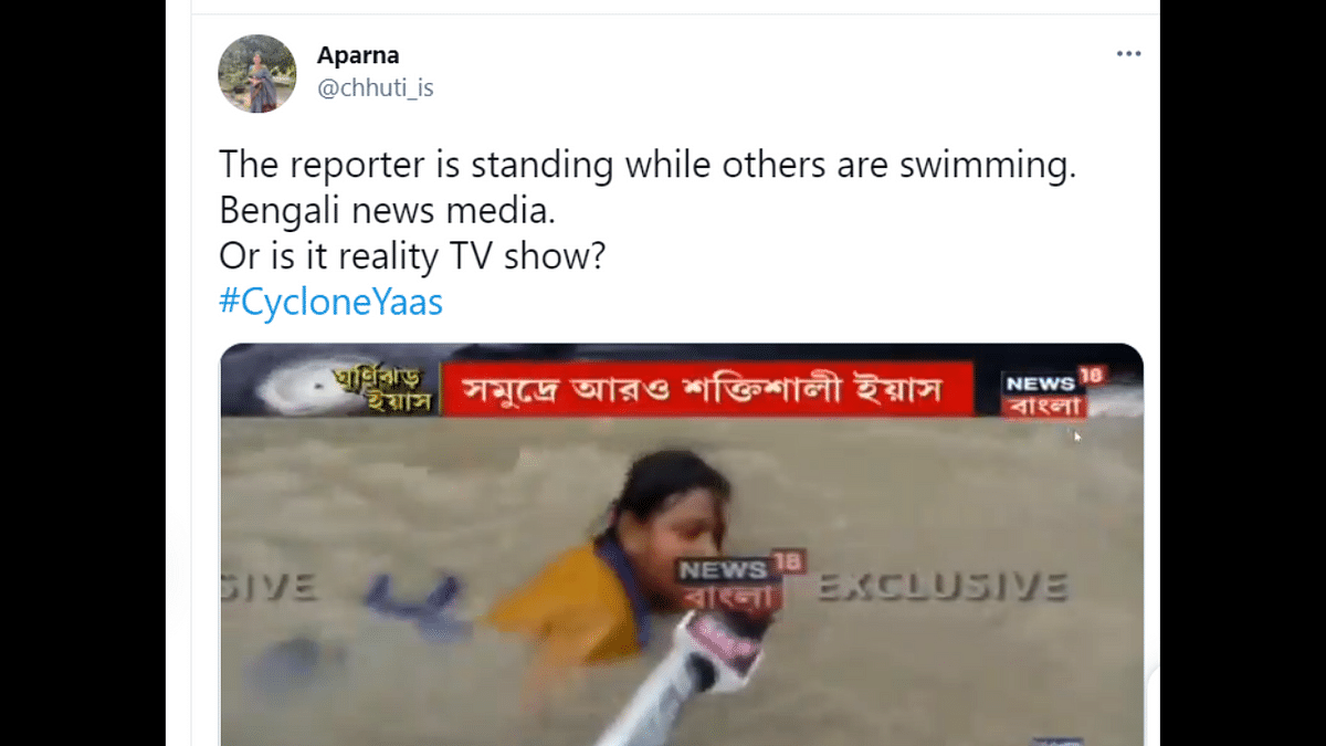 Cyclone Yaas: Hilarious news reporting shows people swimming in ankle-deep water; Tweeple can't stop laughing