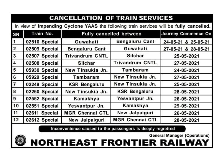 Cyclone Yaas: Northeast Frontier Railway cancels 38 long-distance South-bound and Kolkata-bound passenger trains till May 29 - Check full list here