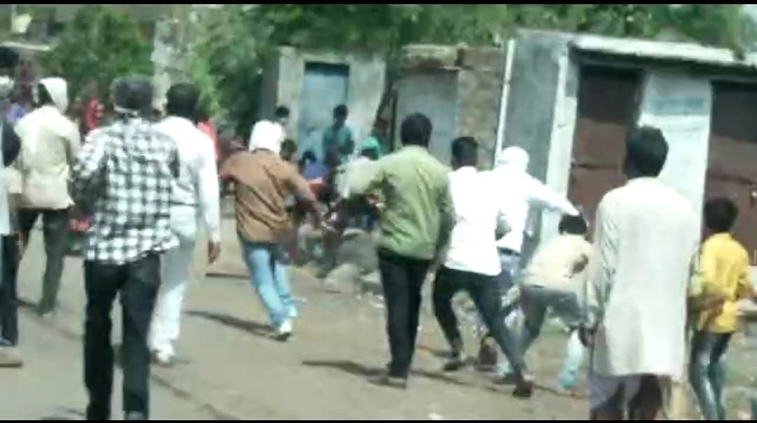 Locals attacking vaccination team in Malikhedi village on Monday